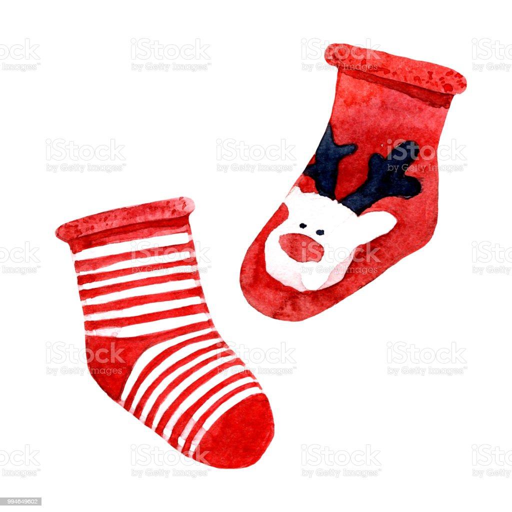 Weihnachten Socken Mit Muster Auf Weißem Hintergrund Aquarell ...