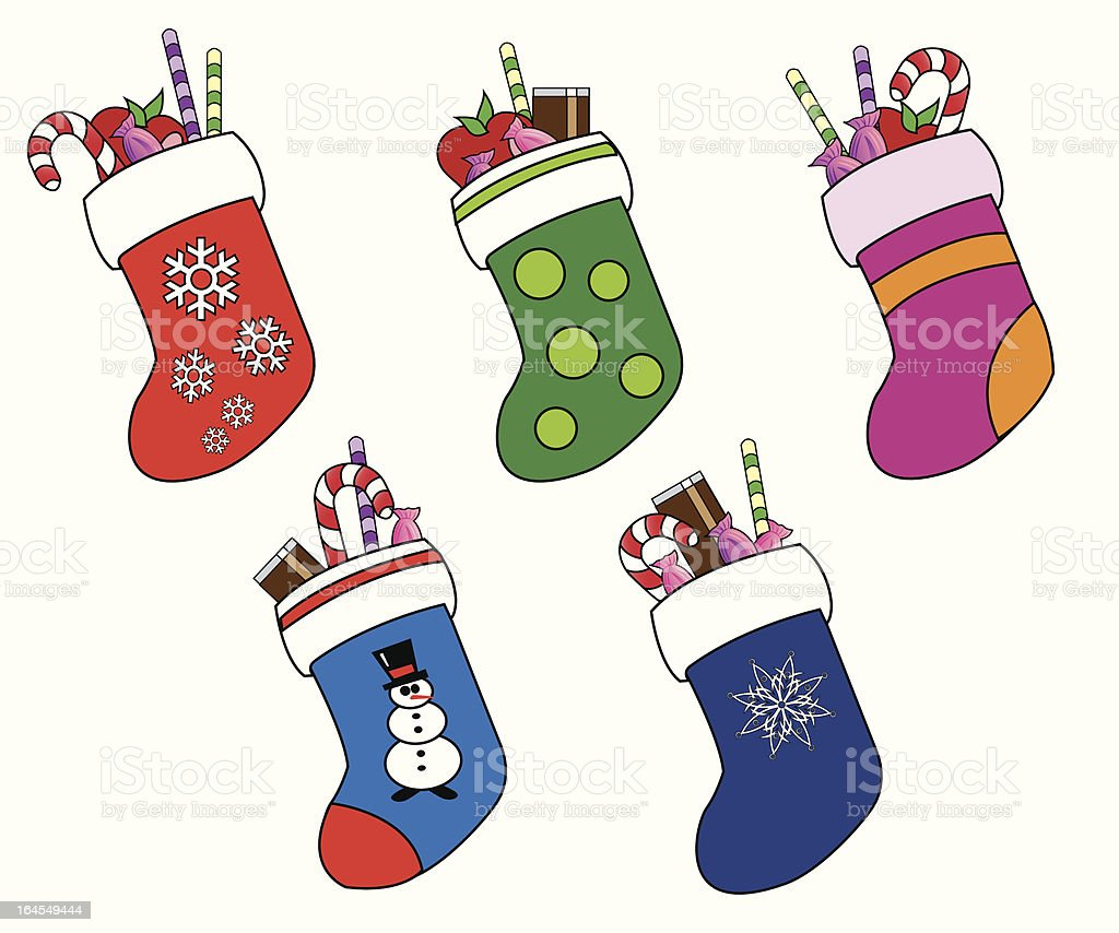 Christmas Stocking Collection royalty-free stock vector art