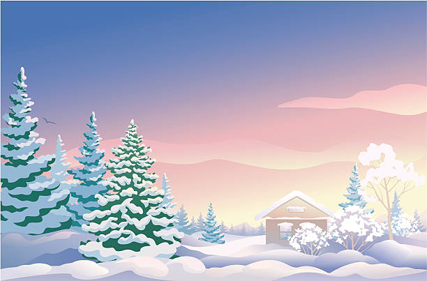 """Christmas sunrise """"Vector illustration of a Christmas sunrise. All the trees and the house are separate objects, grouped for easy edit."""" winter weather clip art stock illustrations"""