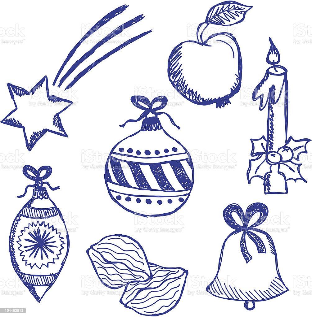 Christmas Symbols Doodles Set Stock Vector Art More Images Of Art