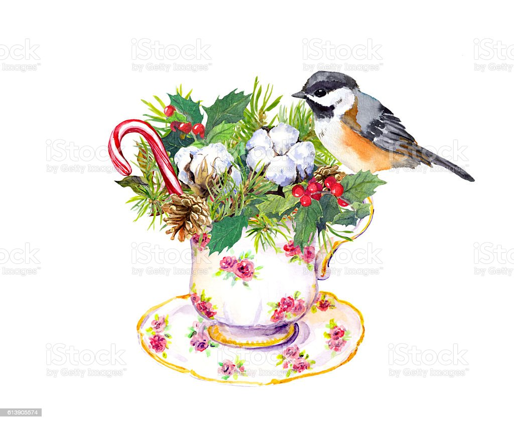Christmas tea cup - bird, fir tree, candy cane. Watercolor vector art illustration