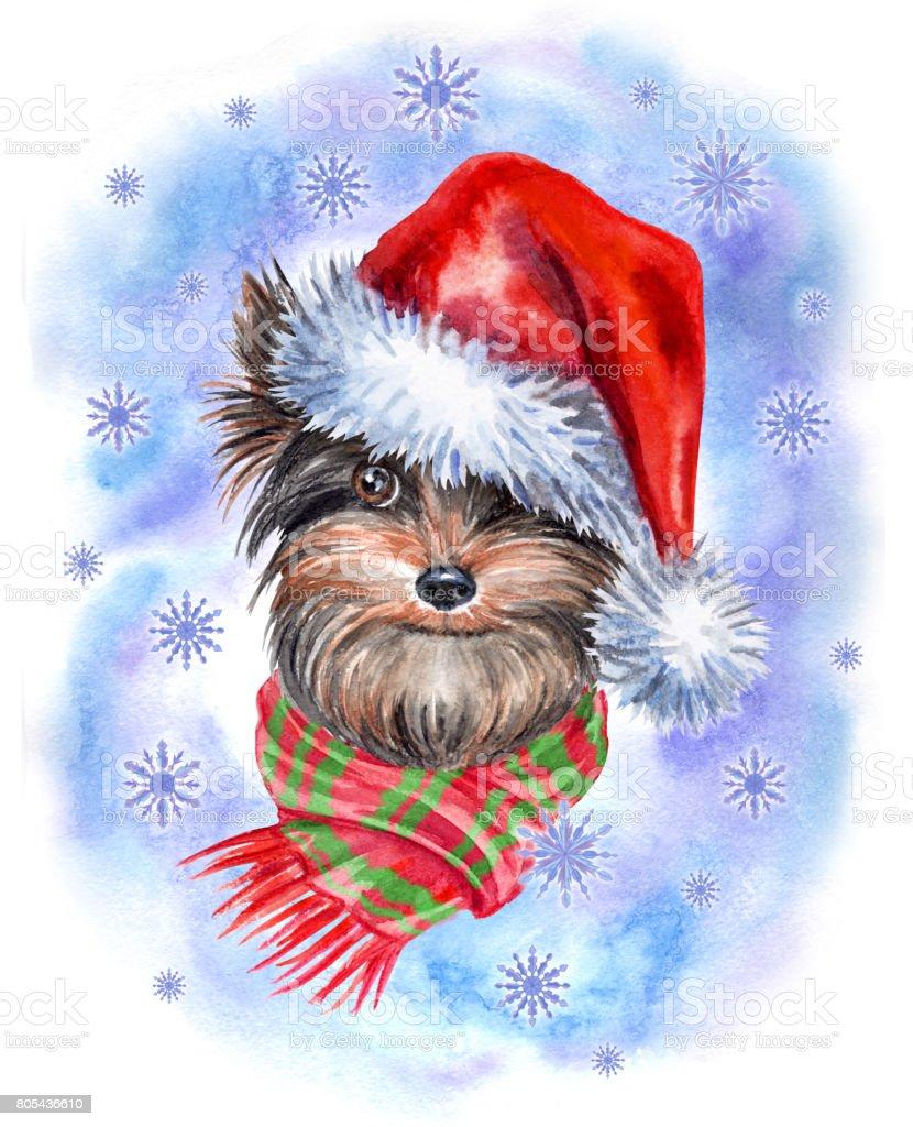 Christmas Terrier. vector art illustration