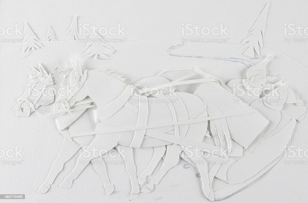 Christmas themed paper sculpture of two horses pulling a sleigh vector art illustration