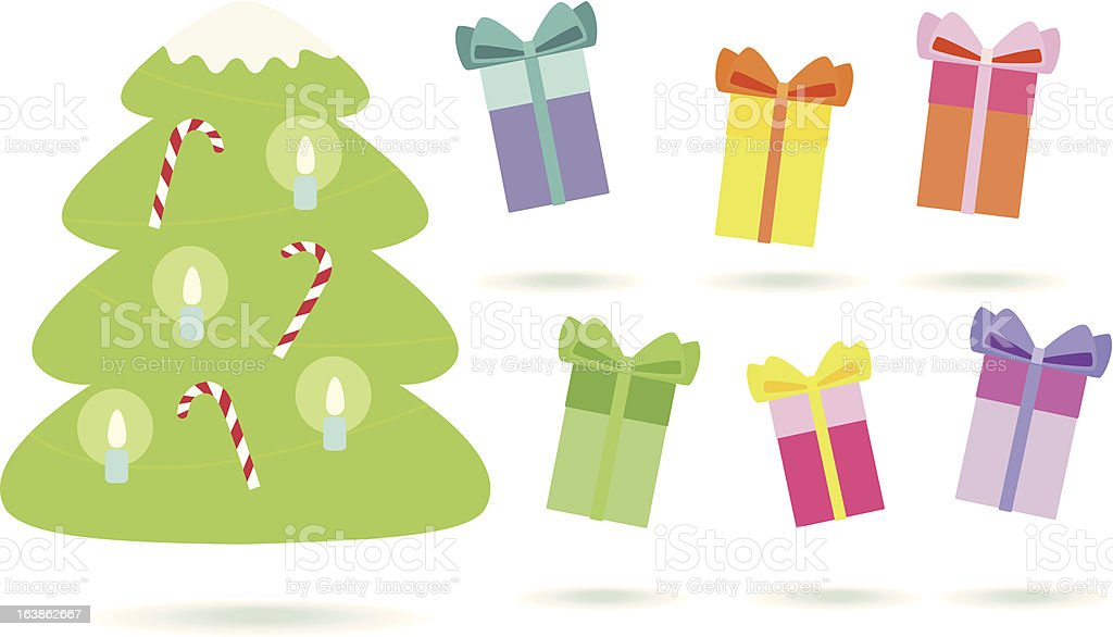 christmas tree and colored presents royalty-free stock vector art