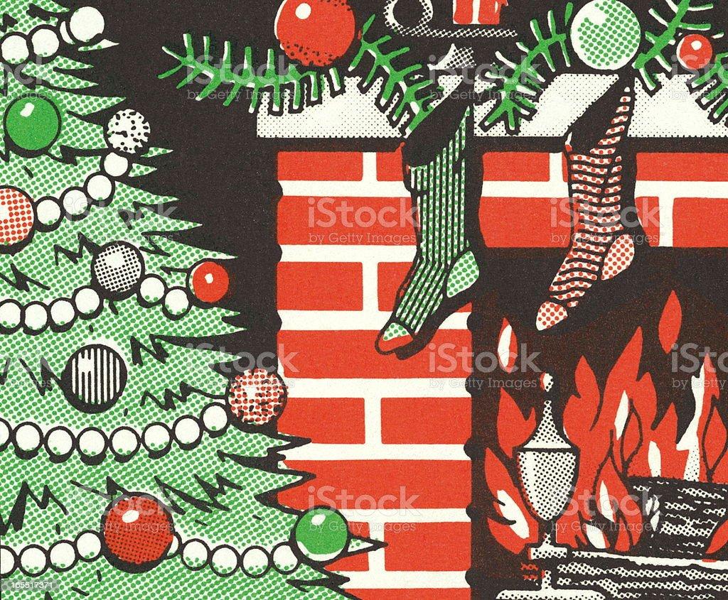 Christmas Tree and Stockings Hung on a Fireplace royalty-free christmas tree and stockings hung on a fireplace stock vector art & more images of christmas