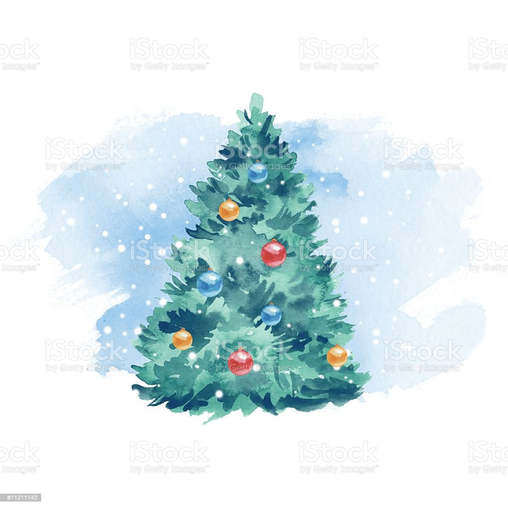 Watercolour Christmas Tree: Christmas Tree Balls And Snow Watercolor Painting Blue