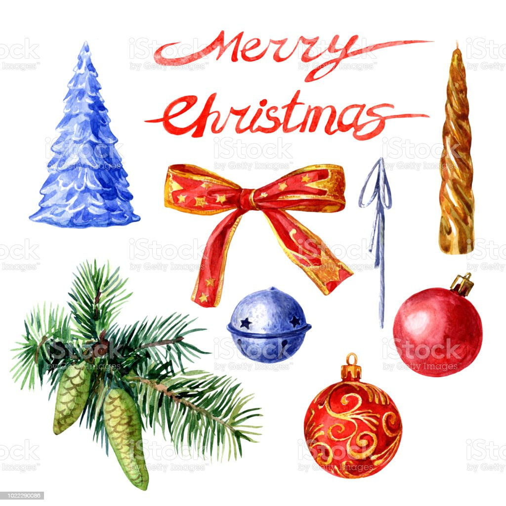 クリスマス ツリー飾りセット水彩イラスト お祝いのベクターアート素材や画像を多数ご用意 Istock