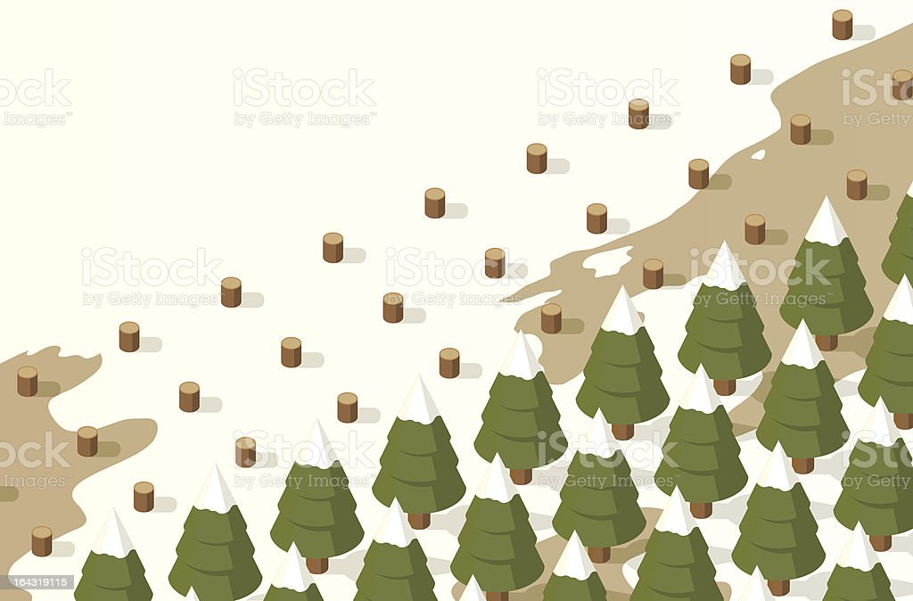 Christmas Tree Farm With Melting Snow From The Sunlight royalty-free stock vector art