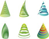 Collection of striped Christmas tree (graphic design elements).