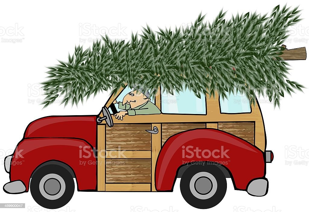 Christmas tree on a woody vector art illustration