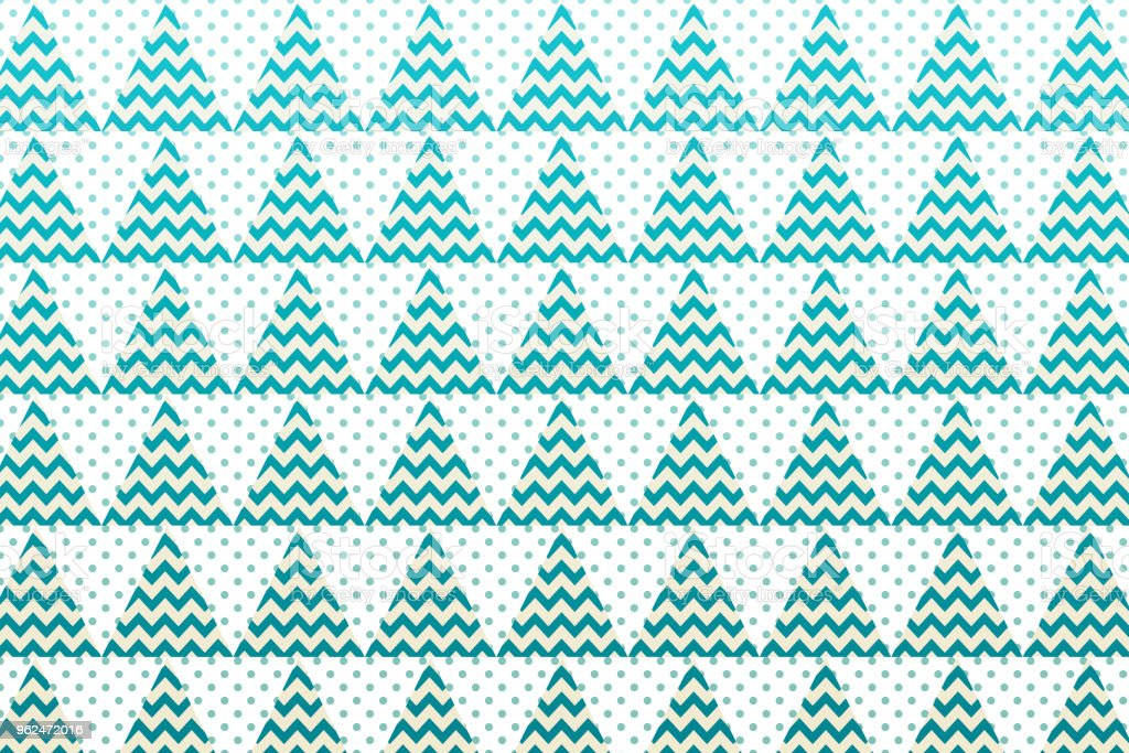 Christmas tree pattern with green triangle, zigzag and small dot shape vector art illustration