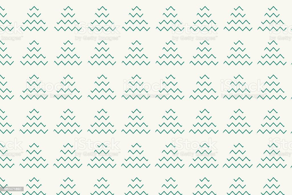 Christmas tree pattern with green zigzag and triangle shape vector art illustration