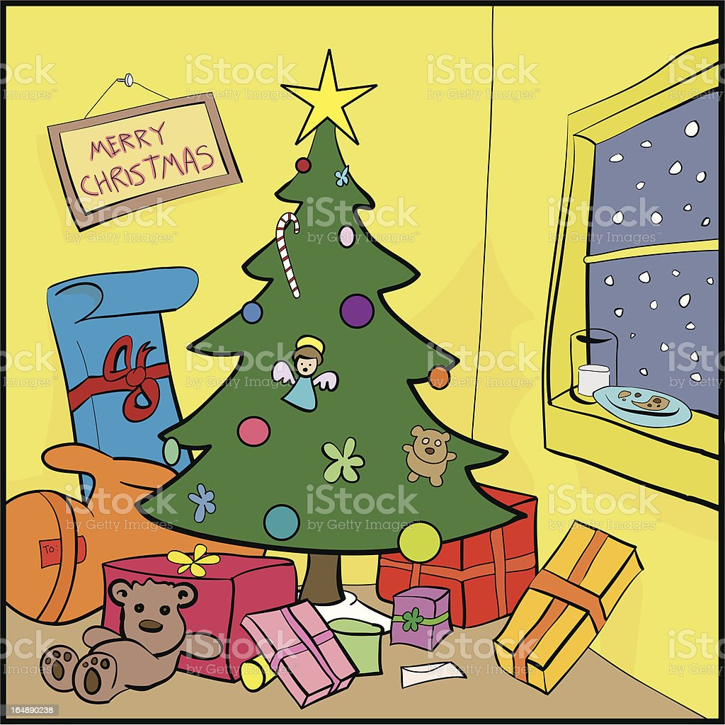 Christmas Tree Room royalty-free stock vector art