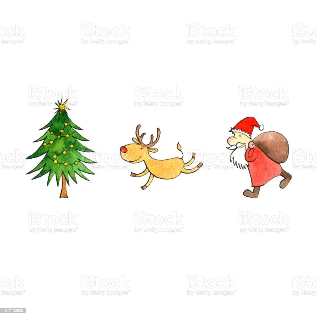 Noel Ağacı Noel Baba Ve Geyik Stok Vektör Sanatı Animasyon