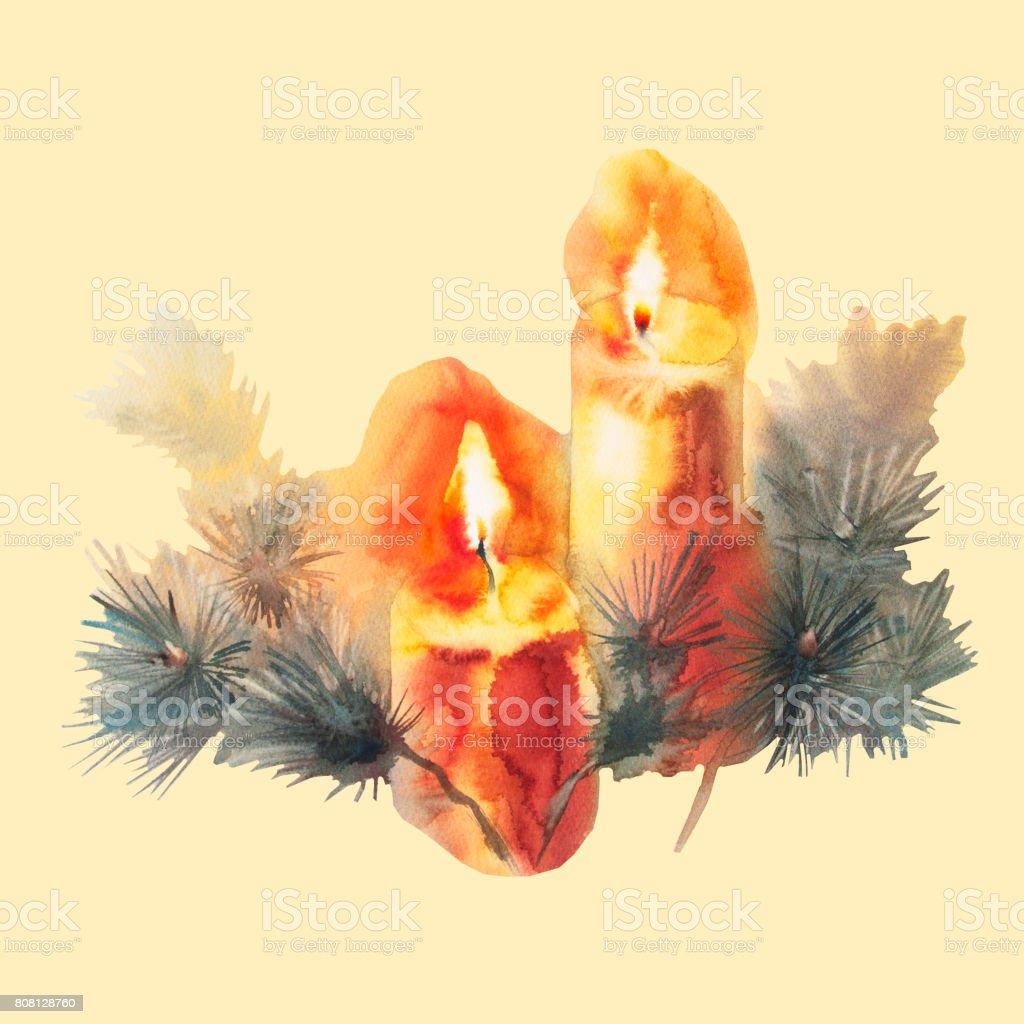 キャンドル水彩画とクリスマス ツリー ベクターアートイラスト