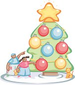 Vector illustration of two children with a cat looking at or decorating a Christmas tree for the holidays.