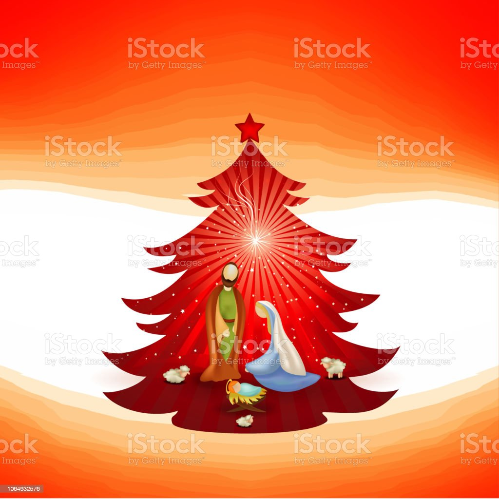 Christmas Tree With Modern Nativity Scene On Red Background Scene Of