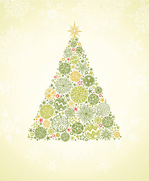 Christmas Tree with Snowflakes vector art illustration