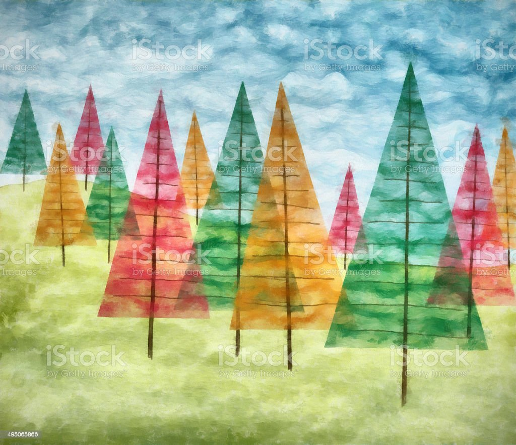 Christmas Trees Watercolor Painting Stock Vector Art & More Images ...
