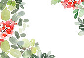 istock Christmas watercolor card with spruce and berries 1173514965