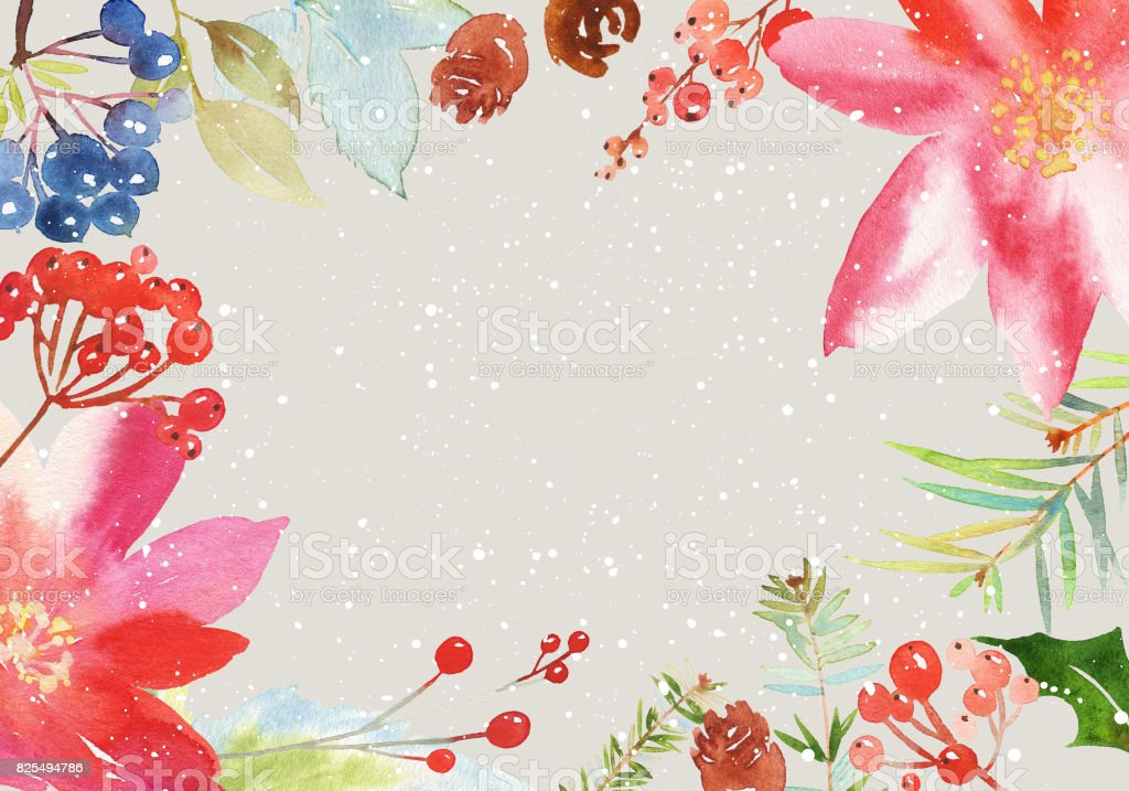 Christmas watercolor card with spruce and berries vector art illustration