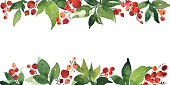 istock Christmas watercolor horizontal arranging with holly berries and green leaves 1179598846