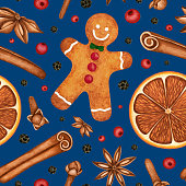 istock Christmas watercolor seamless pattern. Gingerbread, hot mulled wine spices. Hand drawn background for print, textile, wrapping paper 1273362990