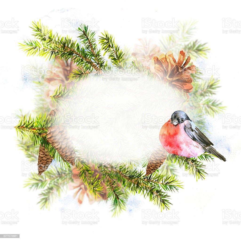 Weihnachten aquarell mit zweig tannen vektor illustration 527570961 istock - Aquarell weihnachten ...