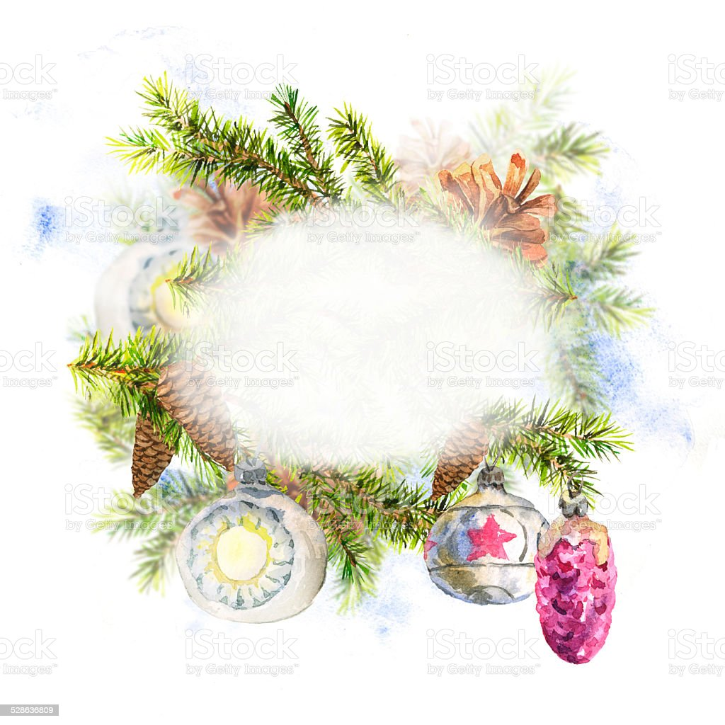 Weihnachten aquarell mit zweig tannen vektor illustration 528636809 istock - Aquarell weihnachten ...
