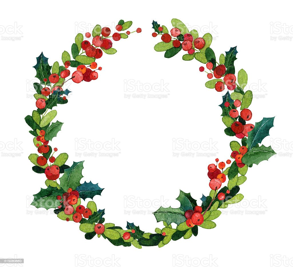 Christmas watercolor wreath with holly vector art illustration