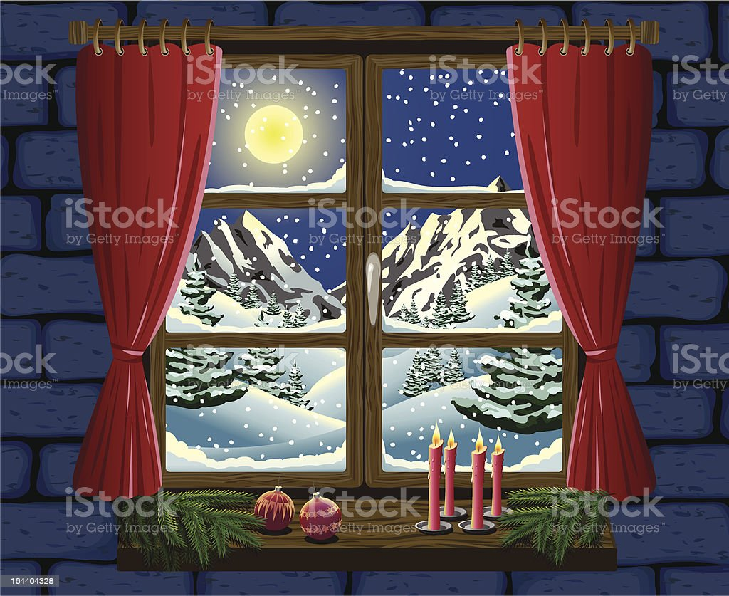 Christmas Window vector art illustration