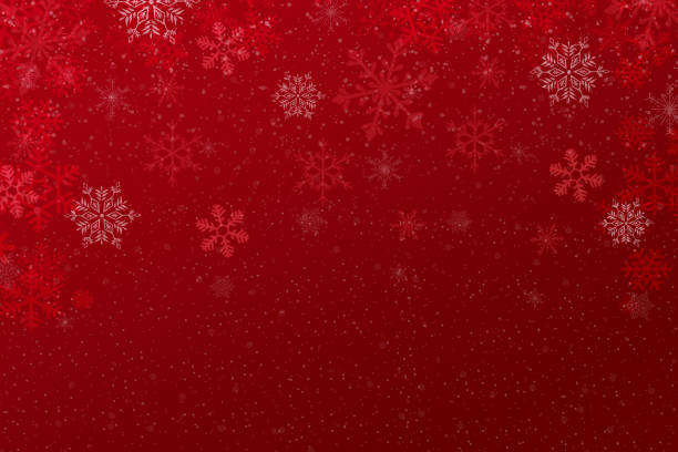 Christmas winter holiday red background Christmas red background with snowflakes and defocused lights christmas backgrounds stock illustrations