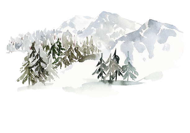 Christmas winter watercolor landscape with mountains and trees Christmas winter watercolor landscape with mountains and trees woodland stock illustrations