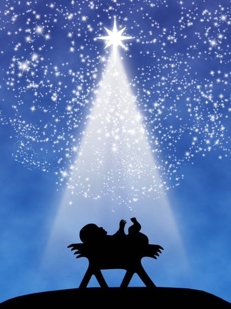 Christmas wishing greeting card with Jesus child Christmas wish greeting card: Jesus child in the manger in black silhouette above a blue gradient backdrop, with white stars and comet star light beam at night. Layers and color management made with Photoshop. trough stock illustrations
