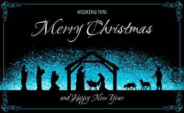 Christmas wishing greeting card with Nativity scene Christmas wish greeting card: Nativity scene in black silhouette above a blue glittered cloud, wishing texts and decorative borders on black background. Layers and color management made with Photoshop. name of person stock illustrations