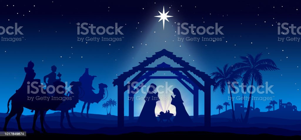 Christmas Wishing Greeting Card With Nativity Scene In The Desert ...