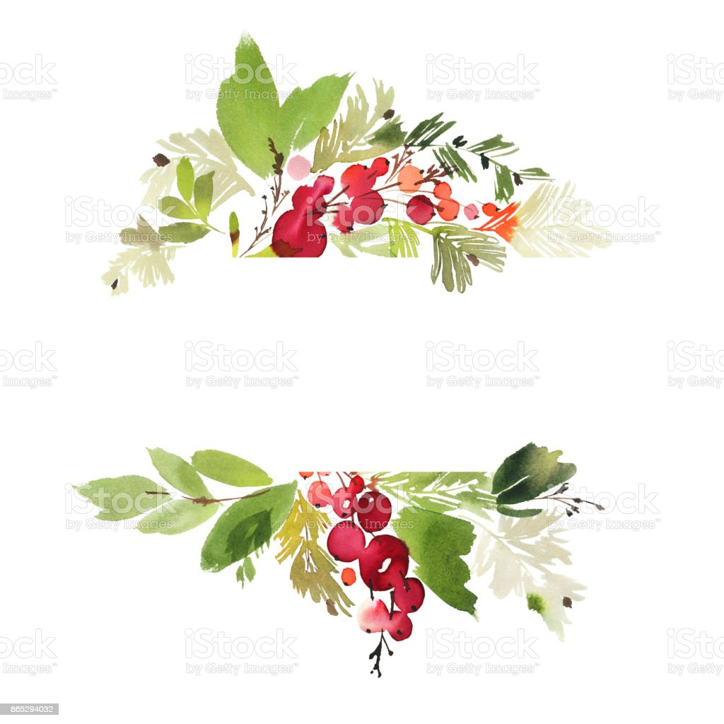 Weihnachten mit beeren aquarell postkarte stock vektor art - Aquarell weihnachten ...