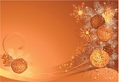 Gold and brown christmas background with braided balls and snowflakes.