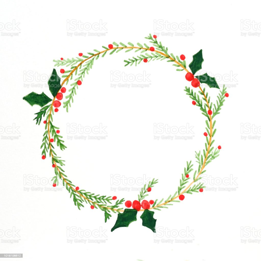 Christmas Wreath Watercolor Drawing On White Paper Background ...