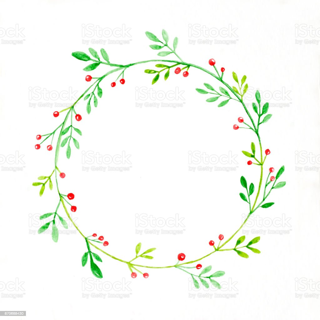 Christmas wreath watercolor drawing on white paper background christmas wreath watercolor drawing on white paper background christmas greeting card background royalty free kristyandbryce Choice Image
