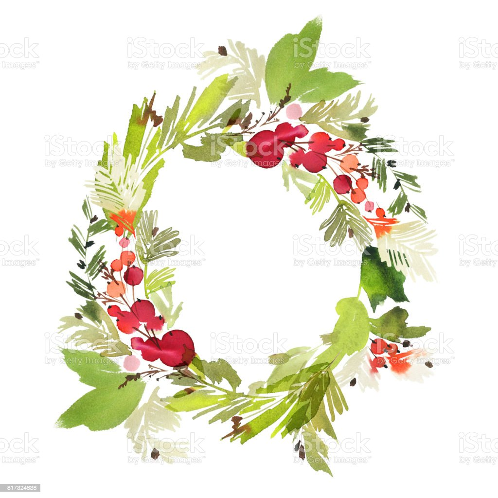 Christmas wreath with berries watercolor postcard vector art illustration