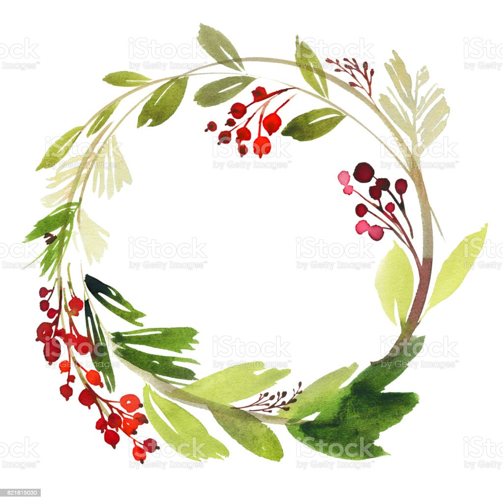 Christmas Wreath With Berries Watercolor Postcard Stock ...