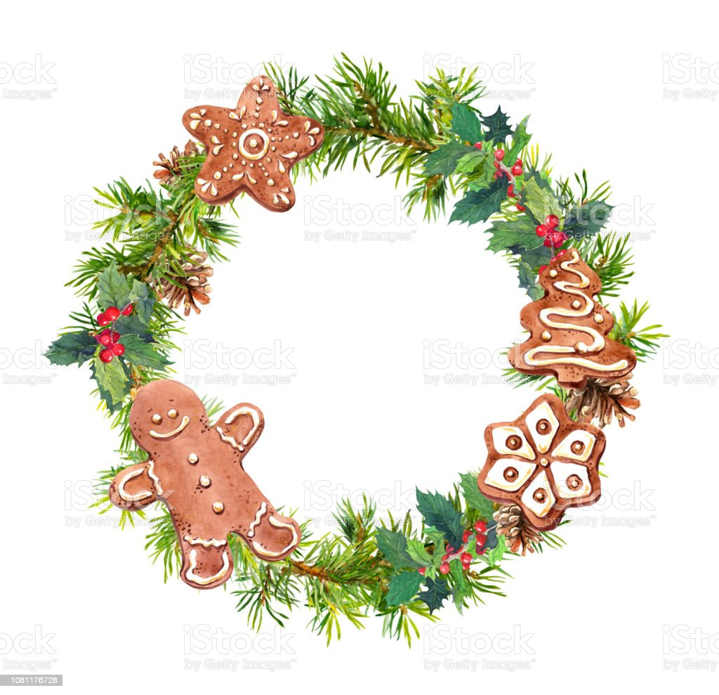 Christmas Wreath With Holiday Cookies Watercolor Pine Tree Branches