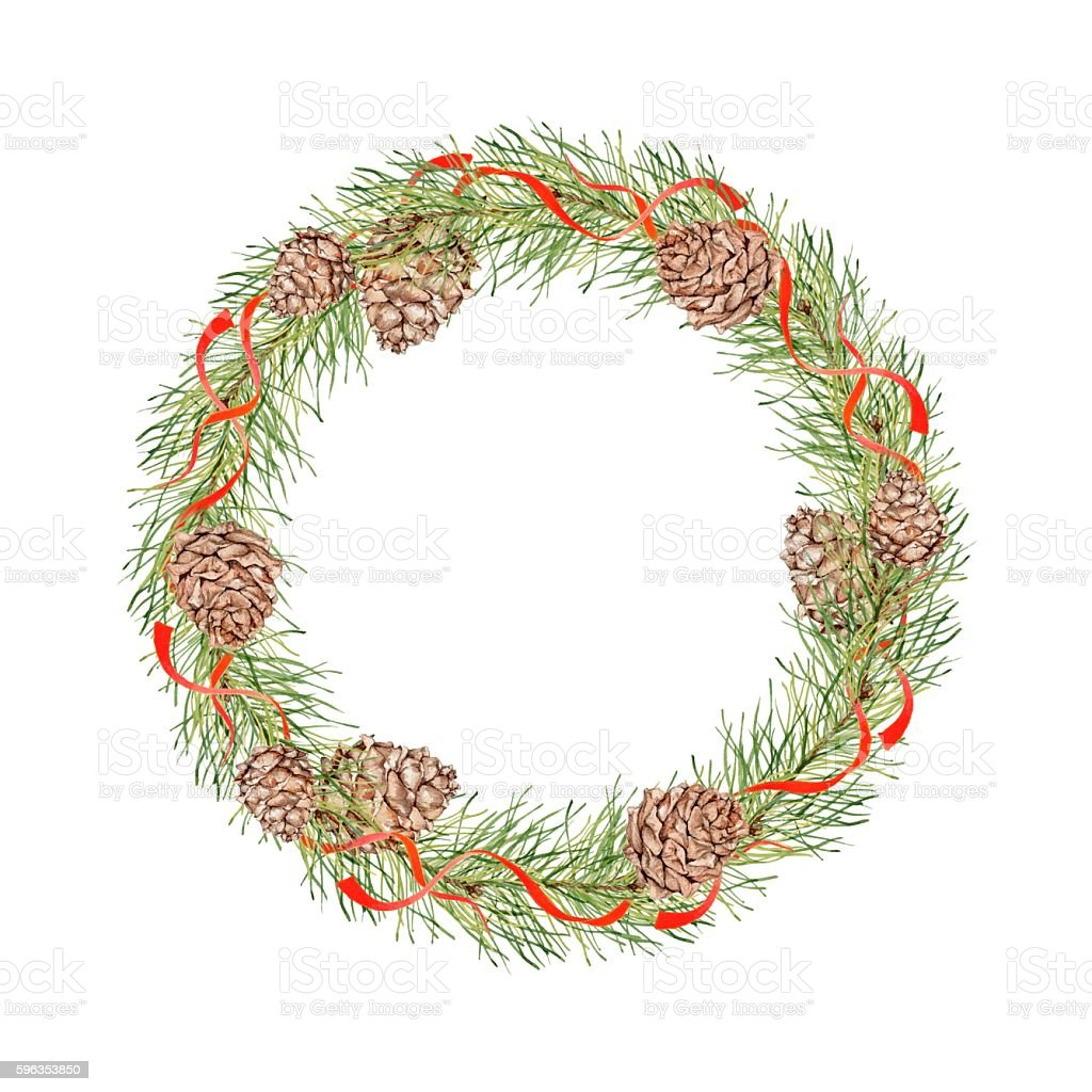 Christmas wreath with pine cones, pine branches and red ribbons. royalty-free christmas wreath with pine cones pine branches and red ribbons stock vector art & more images of circle