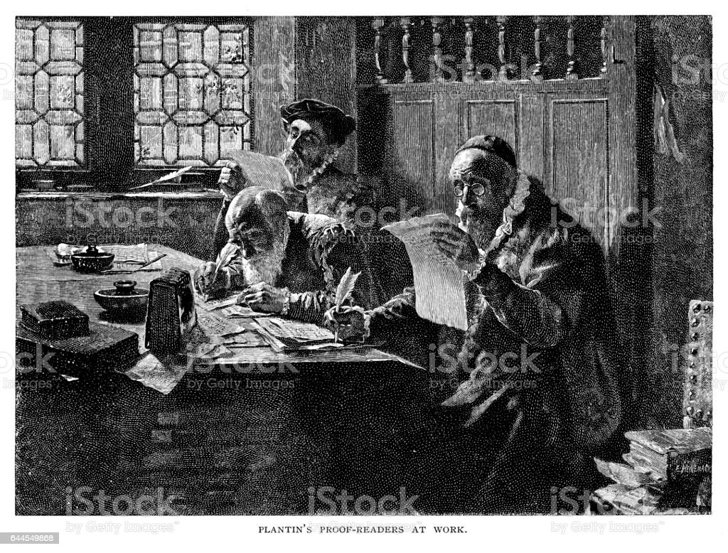 Christophe Plantin's proof readers at work royalty-free christophe plantins proof readers at work stock vector art & more images of 19th century
