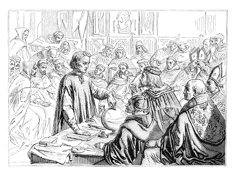 Steel engraving of Columbus explaining his theory before the council of Salamanca 1490.