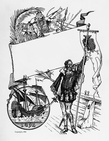 Christopher Columbus Exploration Engraving, Circa 1892