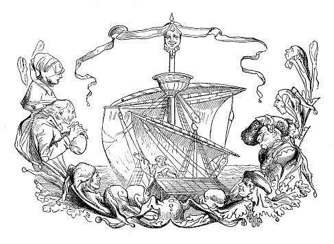 Christopher Columbus Exploration Engraving
