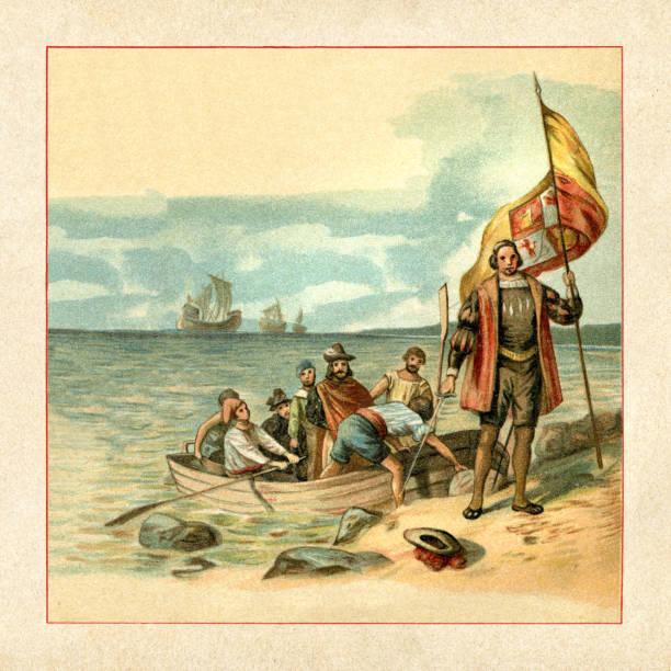Christopher Columbus landing in America 1492 vector art illustration