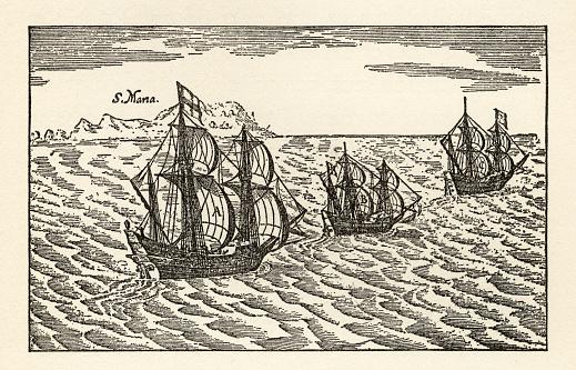 Christopher Columbus Sailing Ships Engraving, Circa 1400s